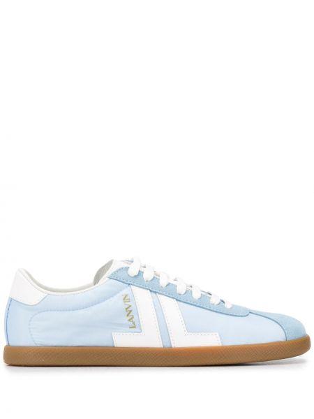 Кожаные кроссовки белый синий Lanvin