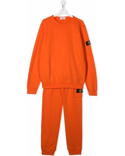 Оранжевый костюмный спортивный костюм Stone Island Junior