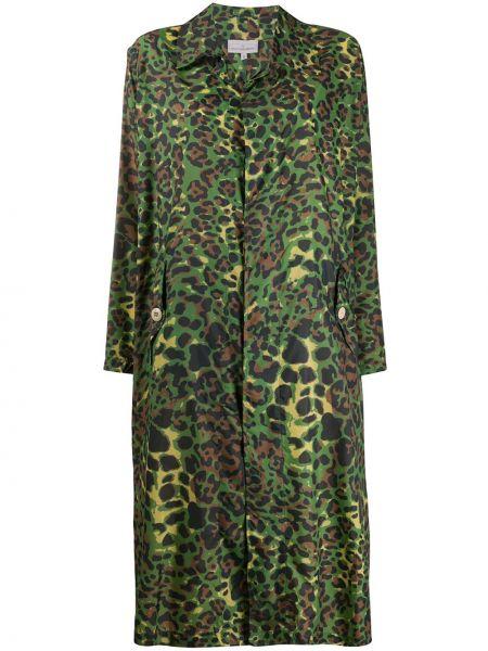 Зеленое пальто классическое с капюшоном с воротником Pierre-louis Mascia