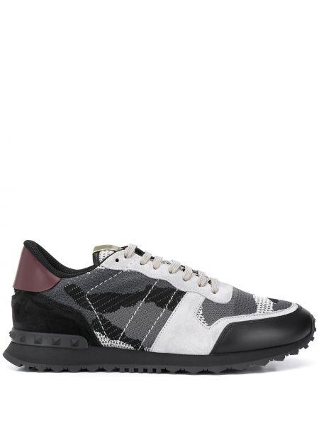Skórzane sneakersy z logo tekstylne Valentino