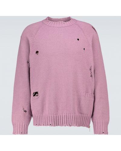 Сиреневый вязаный свитер на молнии Undercover