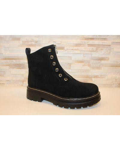 Замшевые ботинки - черные No Brand