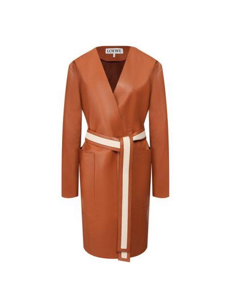 Кожаное пальто пальто Loewe