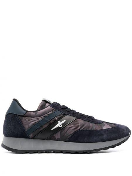 Синие кожаные кроссовки на шнуровке Cesare Paciotti