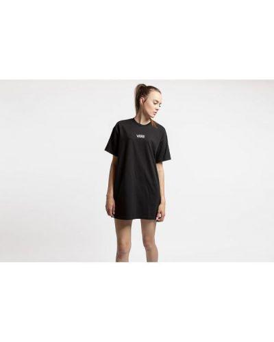 Prążkowana czarna sukienka mini bawełniana Vans