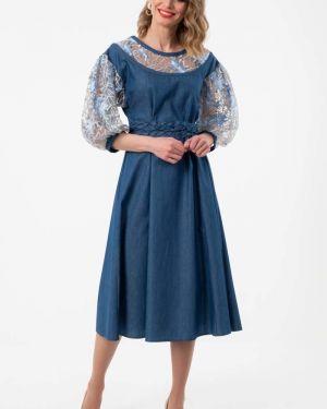 Летнее платье джинсовое с вышивкой Wisell