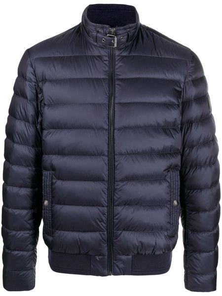 Puchaty niebieski długa kurtka z kieszeniami z długimi rękawami Belstaff