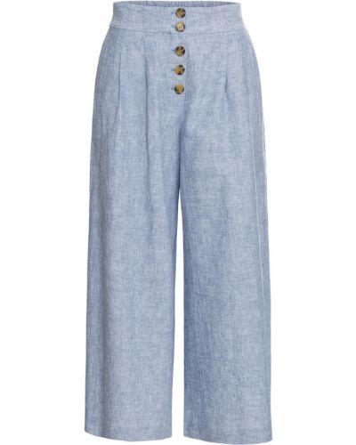 Свободные брюки белые темно-синий Bonprix