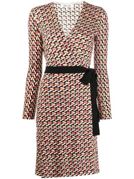 С рукавами шерстяное платье с запахом с V-образным вырезом Dvf Diane Von Furstenberg