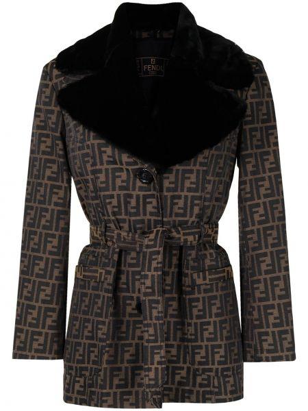 Коричневая длинная куртка из искусственного меха на пуговицах Fendi Pre-owned
