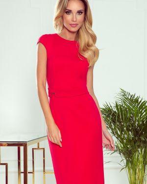 Czerwona sukienka midi elegancka z paskiem Numoco