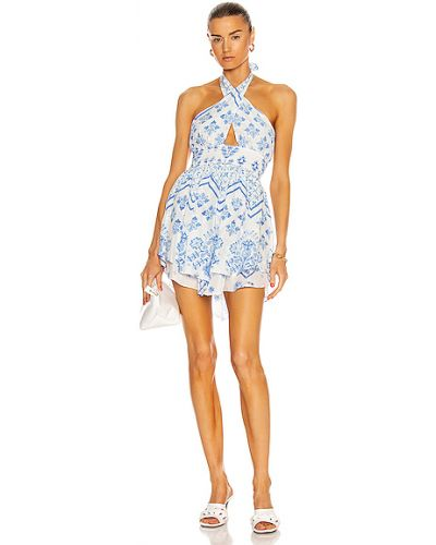 Белое платье мини с декольте с подкладкой Rococo Sand