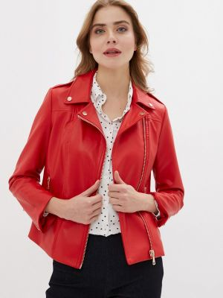 Кожаная куртка весенняя красная Zarina