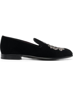 Бархатные черные слиперы на каблуке Dolce & Gabbana