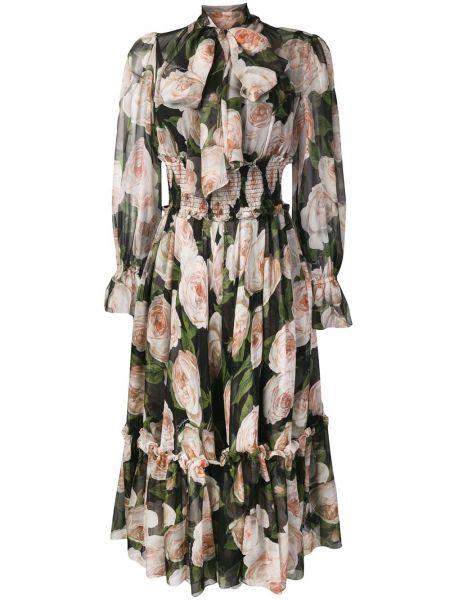 Платье с поясом с баской с цветочным принтом Dolce & Gabbana