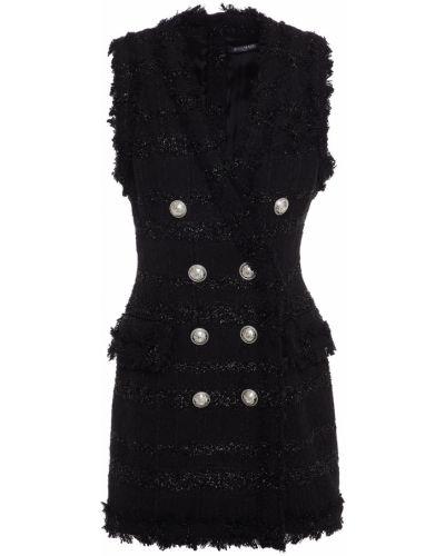 Черное льняное платье Balmain