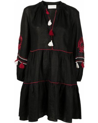 Lniana czarna sukienka długa z długimi rękawami Sachin & Babi