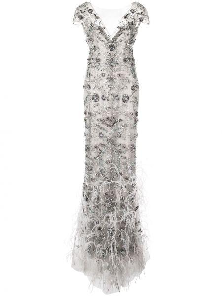 Шелковое серое вечернее платье с бахромой с V-образным вырезом Marchesa