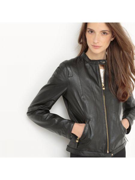 Кожаная куртка куртка-пилот укороченная La Redoute Collections