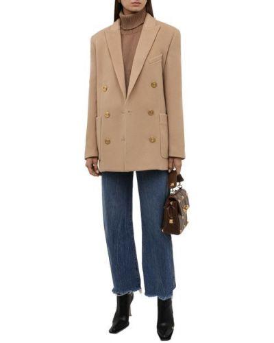 Бежевый пиджак из вискозы Balmain