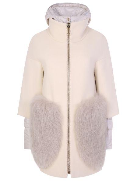 Шерстяное бежевое пальто с капюшоном с воротником на молнии Montecore