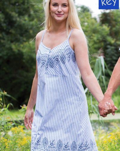 Платье в полоску - голубое Key