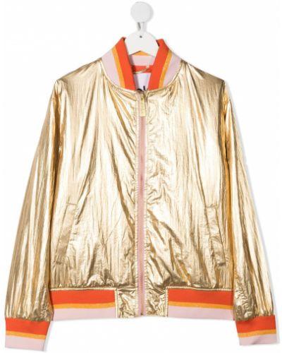 Желтая бейсбольная длинная куртка с нашивками Molo