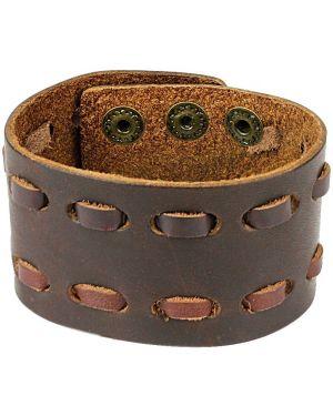 Кожаный браслет - желтый Spikes
