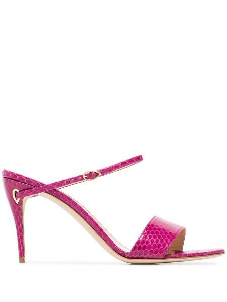 Открытые кожаные розовые мюли на каблуке Jennifer Chamandi