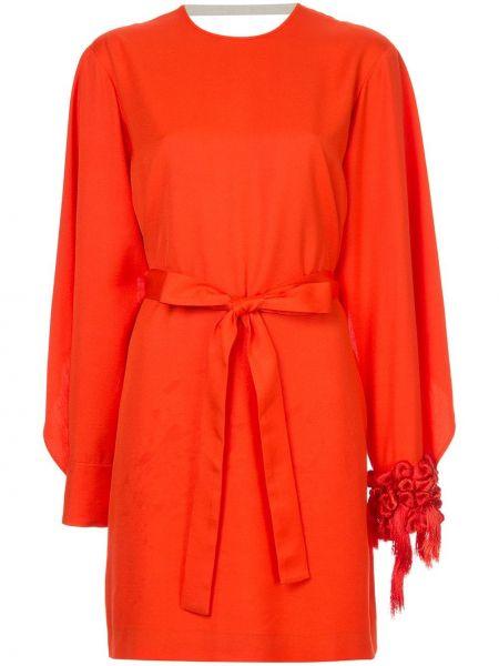 Красное шелковое платье мини с поясом Litkovskaya