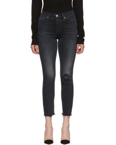 Skórzany zawężony czarny jeansy do kostek z paskiem Re/done