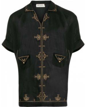 Klasyczny tunika z haftem krótkie rękawy złoto Saint Laurent