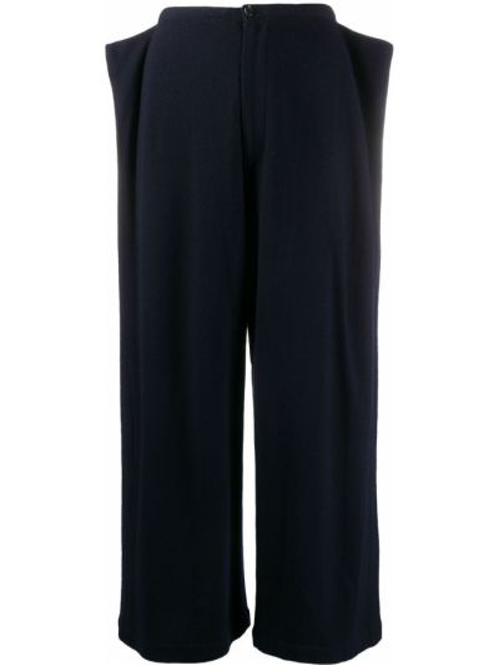 Синие шерстяные укороченные брюки свободного кроя с высокой посадкой Comme Des Garçons Pre-owned