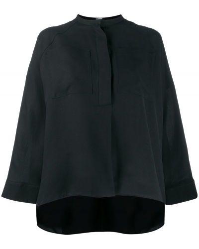 Блузка с длинным рукавом с воротником-стойкой свободного кроя Jil Sander Navy