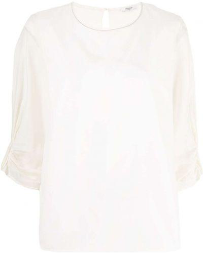 Beżowy z rękawami bluzka z falbankami Peserico