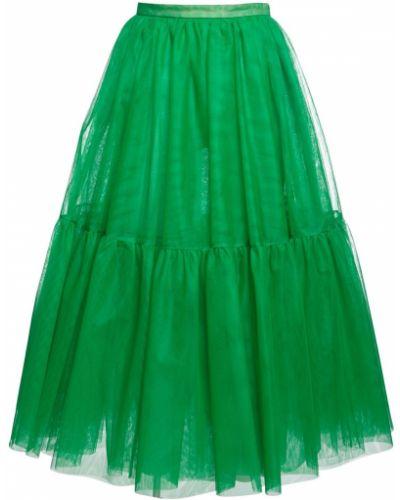 Юбка миди из фатина - зеленая Rochas
