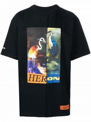 Футболка с принтом - черная Heron Preston