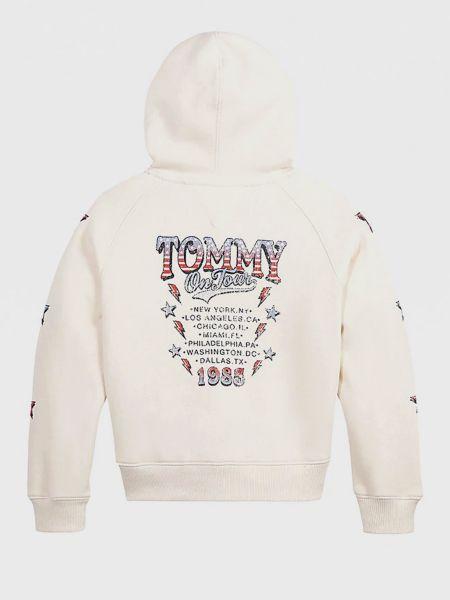 Белая куртка с капюшоном с рисунком Tommy Hilfiger
