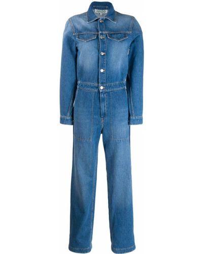 Синий классический джинсовый комбинезон на пуговицах с манжетами Kenzo