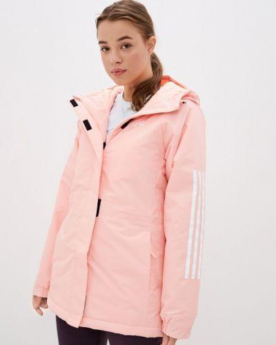 Утепленная розовая куртка Adidas