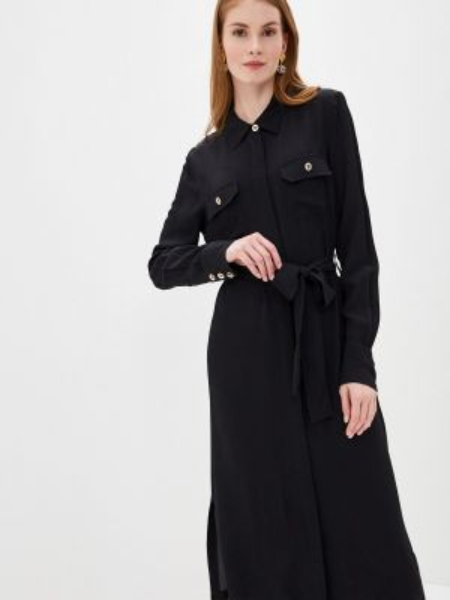 Платье платье-рубашка черное Lusio