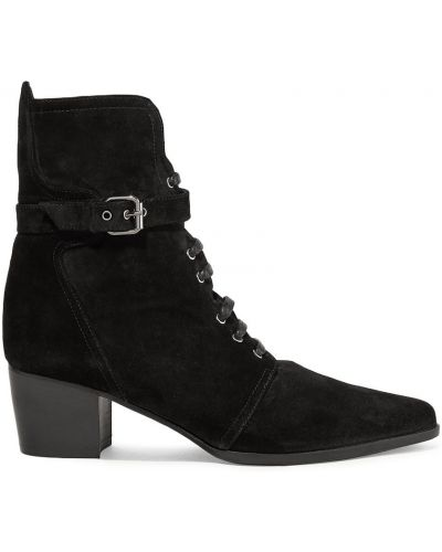 Czarne ankle boots zamszowe koronkowe Tabitha Simmons