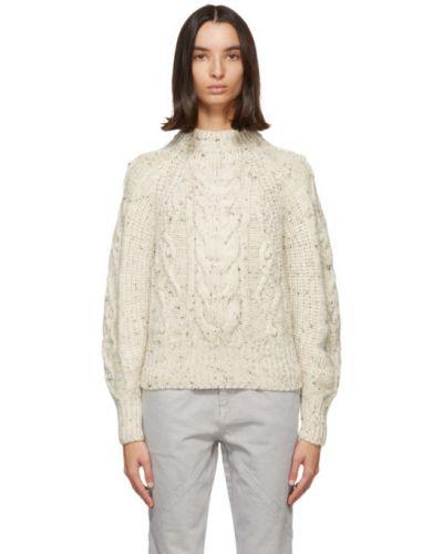 Brązowy sweter z kołnierzem z alpaki z mankietami Isabel Marant