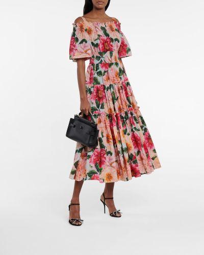 Хлопковое домашнее розовое платье миди Dolce & Gabbana
