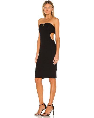 Кожаное черное платье-рубашка для полных Lna