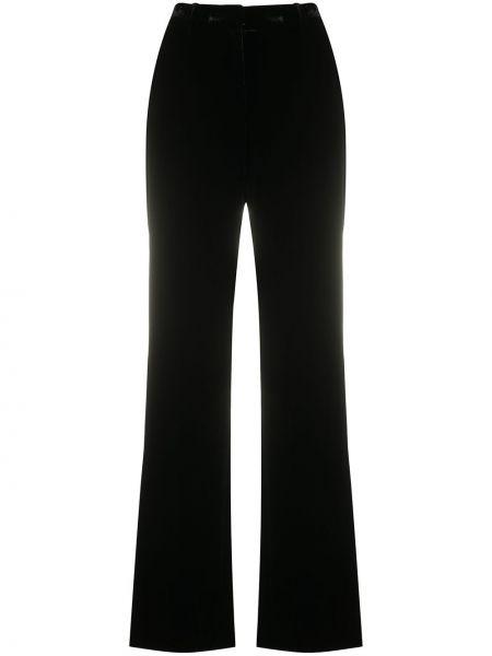 Черные прямые брюки с поясом с высокой посадкой Alberta Ferretti