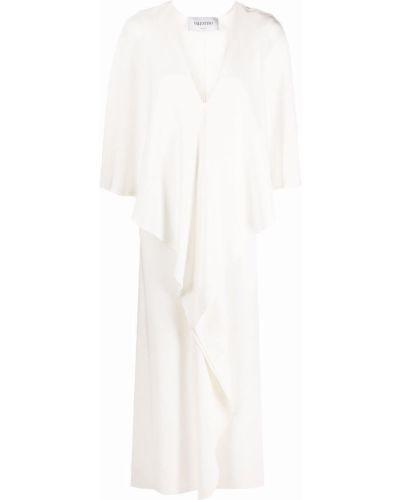 Белое платье макси с V-образным вырезом с драпировкой Valentino