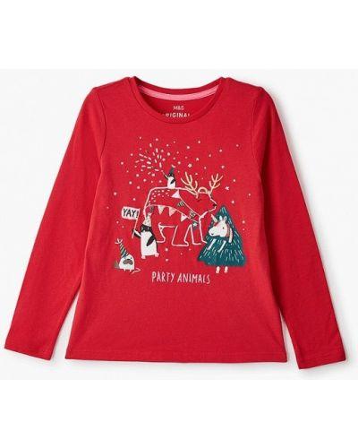 Красный лонгслив Marks & Spencer