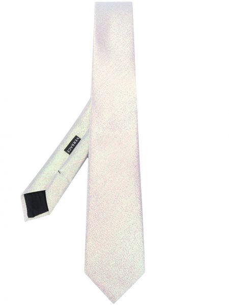 Серебряный шелковый галстук Versace