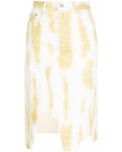 Żółta spódnica jeansowa z paskiem bawełniana Sjyp